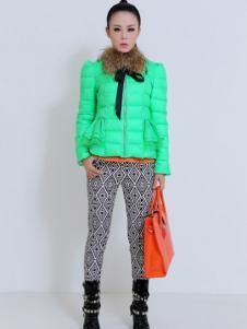 珂诺女装绿色短款羽绒服