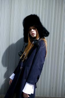 衣香丽影蓝色七分袖外套