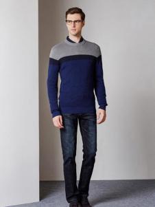 爱迪·丹顿拼色针织毛衣