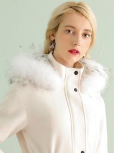 ABUN冬季时尚白色长款欧美大衣