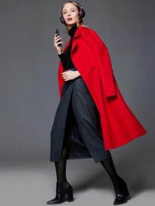 布莎卡冬季红色时尚长款外套