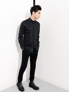 翡翠男装黑色衬衫