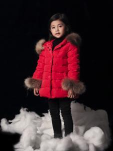 天使舞台女童红色毛领羽绒服