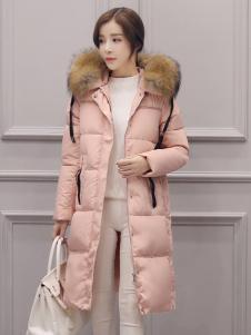 五色五图粉色长款毛领羽绒服