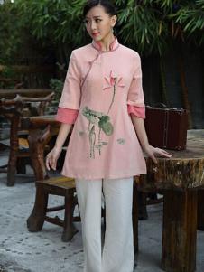 木棉道中国风印花上衣