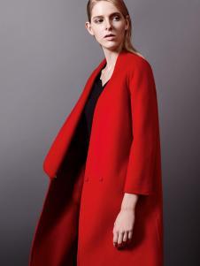 乔帛秋冬时尚红色大衣正品