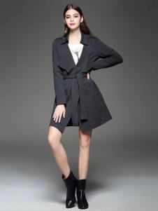 千衣商城女装灰色个性大衣