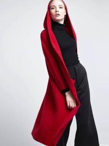 布莎卡冬季欧美长款毛呢大衣