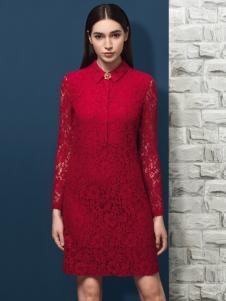 允硕2016冬季新款红色蕾丝连衣裙