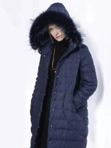 迪斯廷凯冬季时尚藏青色羽绒服