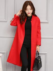 五色五图红色欧版宽松毛呢大衣