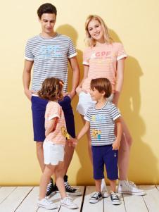 上流家族亲子装2016新品条纹T恤