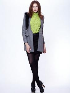时尚年代女装灰色中长款大衣