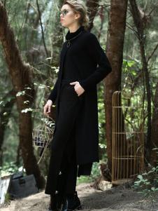 蜜西娅女装2016新品黑色长款上衣