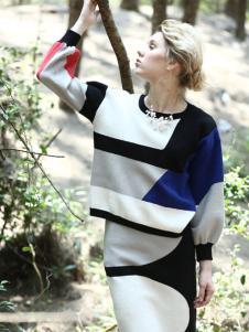 蜜西娅女装2016新品拼接色套装