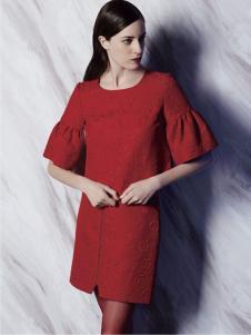 非牌时尚女装红色连衣裙
