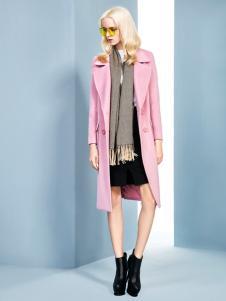 依然秀中长款粉色大衣