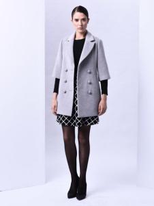 sumsilk夏丝女装灰色双排扣大衣