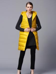 画而诗冬季时尚黄色马甲外套