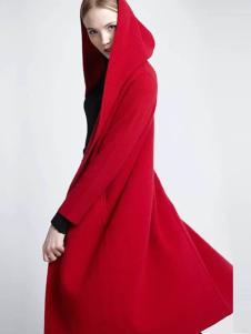 布莎卡红色时尚长款外套