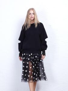 丹尼布鲁秋季时尚黑色宽松毛衣
