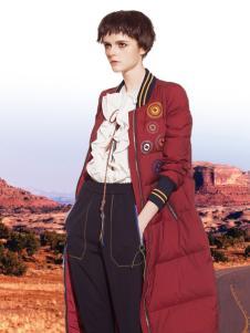 必芙丽红色长款羽绒服