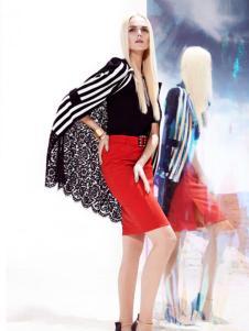 亦熙女装2016新品条纹蕾丝外套