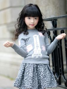 韩维妮童装韩维妮童装新品女童灰色针织衫
