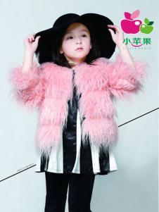小苹果童装粉色毛绒大衣