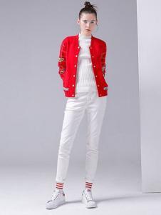 初语女装2016秋冬新品红色外套