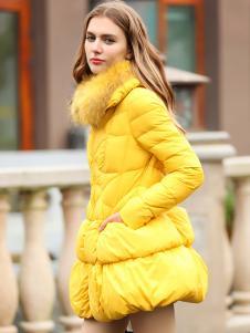 必芙丽黄色A字版羽绒服