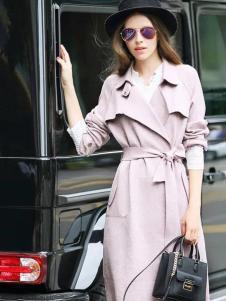 优尚美秋冬粉色风衣