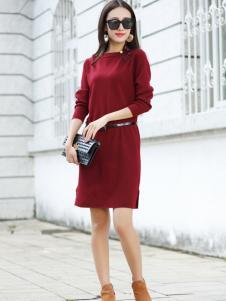 卡茵琪秋季酒红时尚连衣裙