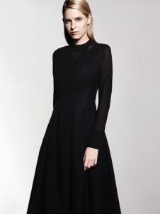 乔帛黑色修身时尚连衣裙正品
