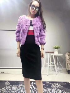 阿莱贝琳紫色皮草