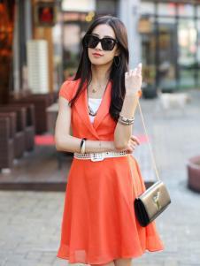 卡茵琪红色显瘦潮流连衣裙新品