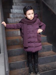 兔子杰罗紫色中长款羽绒服