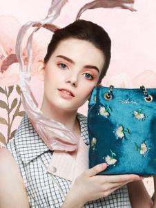 artmi蓝色韩版时尚水桶包新款