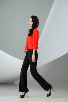 迪丝爱尔红色雪纺衬衫