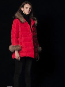 天使舞台女款红色毛领羽绒服