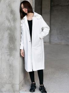 YBS女装2016秋冬新品白色开襟外套