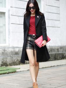 卡茵琪黑色时尚长款外套