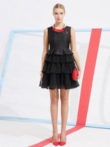 卡芙芮女装2016新品黑色连衣裙