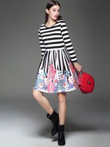 千衣商城女装条纹连衣裙