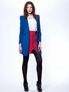 时尚年代女装宝蓝色大衣