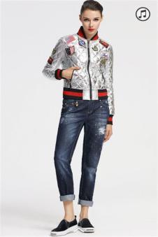 维斯提诺银白色印花夹克外套