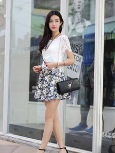 卡茵琪秋季白色韩版蕾丝上衣新品