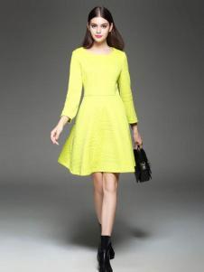 千衣商城女装千衣商城女装亮黄色收腰连衣裙