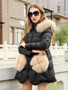必芙丽冬季黑色毛领羽绒服