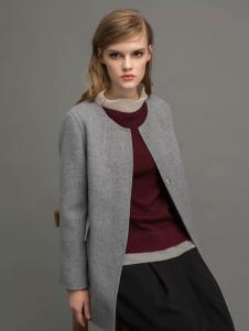 迪索怡灰色修身圆领大衣